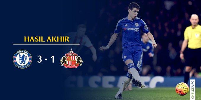 Tanpa Mourinho , CHELSEA FC menang TELAK 3-1 atas SUNDERLAND