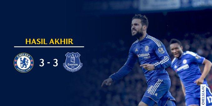 Chelsea FC Imbang Melawan Everton Skor 3-3